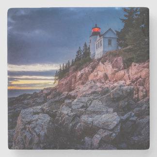 Twilight Over Bass Harbor Lighthouse, Acadia Stone Beverage Coaster