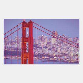 Twilight Over The Golden Gate Bridge Rectangular Sticker