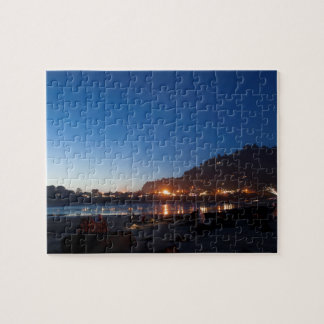 Twilight sea scape, night lights, Yechats, Oregon, Jigsaw Puzzle