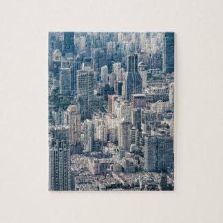 Twilight Shanghai city China aerial view Jigsaw Puzzle