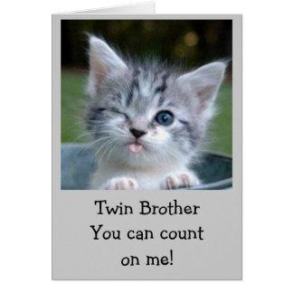 TWIN AGE HUMOR BIRTHDAY CARD KITTY STYLE