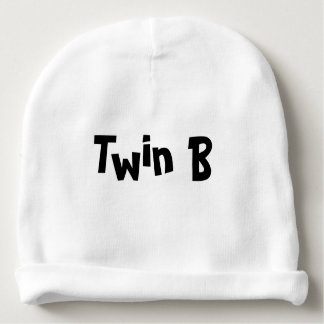 Twin B Baby Hat White Part of set of 2 for Twins Baby Beanie