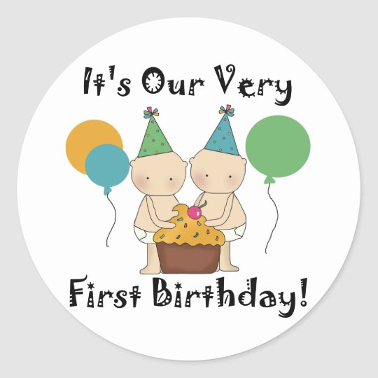 Twin Babies 1st Birthday Tshirts and Gifts Classic Round Sticker