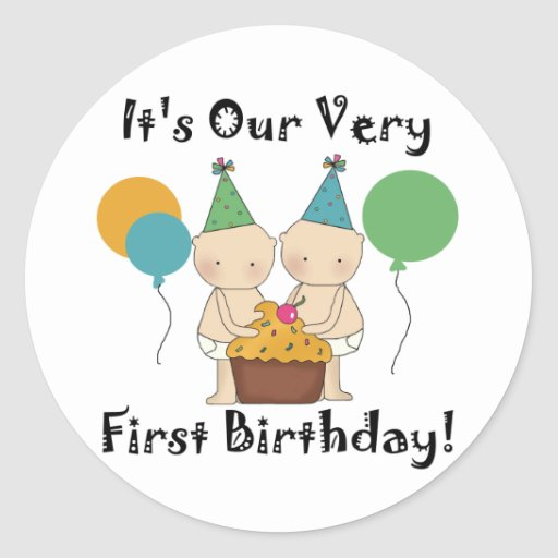 Twin Babies 1st Birthday Tshirts and Gifts Round Sticker