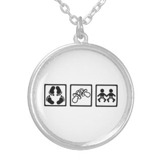 Twin babies silver plated necklace