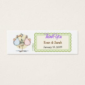 Twin Babies Stork Favor Tag Mini Business Card