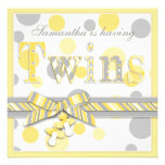Twin Babies Yellow Grey Dots Baby Shower Invitations