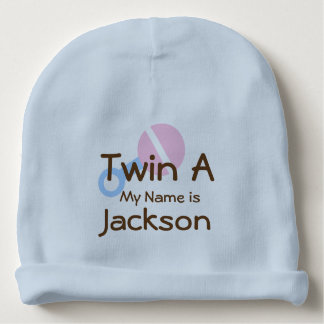 Twin Baby Boy Blue Beanie Hat with Rattle Baby Beanie