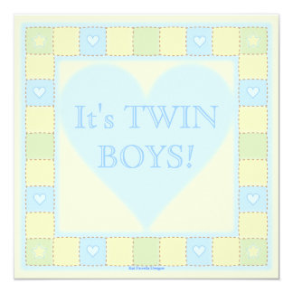 Twin Baby Boys Patchwork Baby Shower Invitation