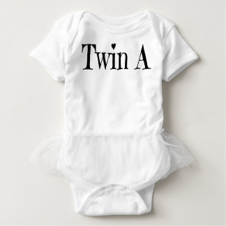 Twin Baby Clothes - Twin A Outfit/ Onepiece White Baby Bodysuit