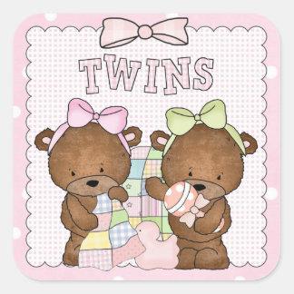 Twin baby girl bears sticker