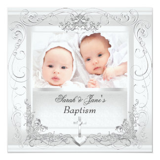 Twin Baby Girl Boy Christening Baptism White 13 Cm X 13 Cm Square Invitation Card