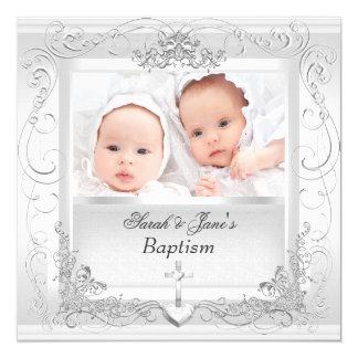 Twin Baby Girl Boy Christening Baptism White Card