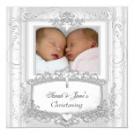 Twin Baby Girl or Boy Christening Baptism White 13 Cm X 13 Cm Square Invitation Card