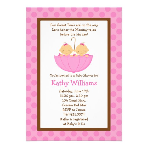 Twin Baby Girl Shower Invitation