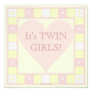 Twin Baby Girls Patchwork Baby Shower Invitation