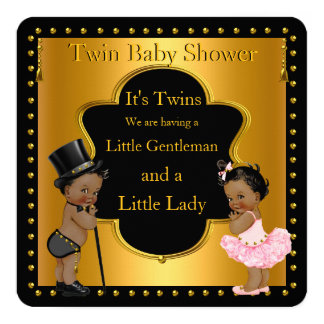 Twin Baby Shower Boy and Girl Ethnic 13 Cm X 13 Cm Square Invitation Card