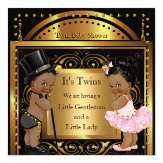 Twin Baby Shower Boy and Girl Gold Ethnic 13 Cm X 13 Cm Square Invitation Card