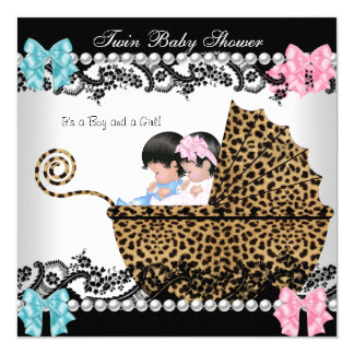 Twin Baby Shower Cute Girl Pink Boy Blue Leopard 13 Cm X 13 Cm Square Invitation Card