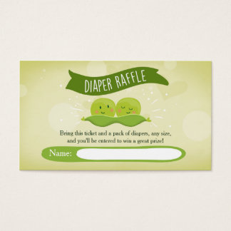 Twin Baby Shower Diaper Raffle Card Peas in a pod