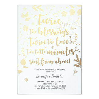 Twin Baby Shower Invitation Gold white Blessings