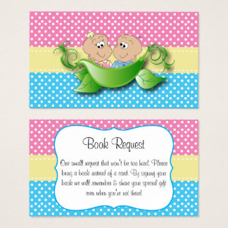 Twin Baby Shower - Two Peas In A Pod Book Request Business Card