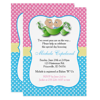 Twin Baby Shower - Two Peas In A Pod Card