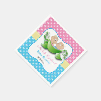 Twin Baby Shower - Two Peas In A Pod Disposable Serviettes