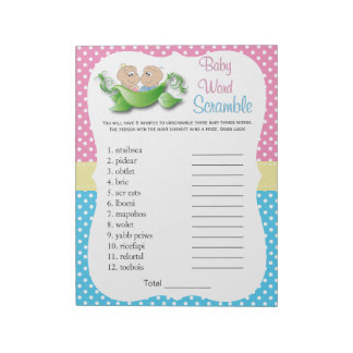 Twin Baby Shower - Two Peas In A Pod Word Game Notepad