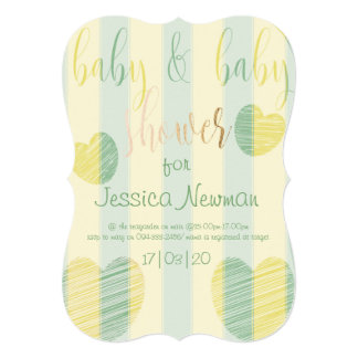 Twin Baby Shower with Hearts for a Mama of Twins Card