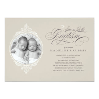 Twin Baptism Photo Invitations