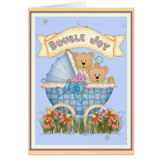 Twin Bears Baby Carriage Greeting Card