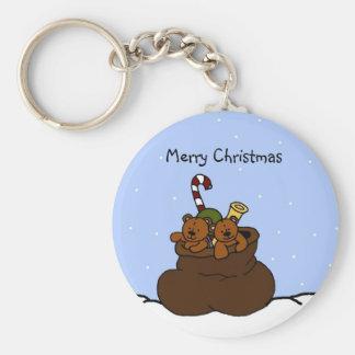 twin bears in santa sack basic round button key ring