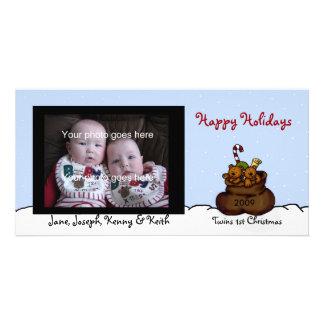 Twin bears in Santas sack photo card