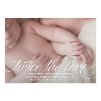 Twin Birth Announcement Twice the Love