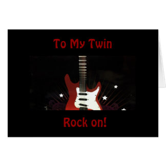 """TWIN BIRTHDAY SO ROCK ON FOR YOU """"STILL ROCK!"""" CARD"""