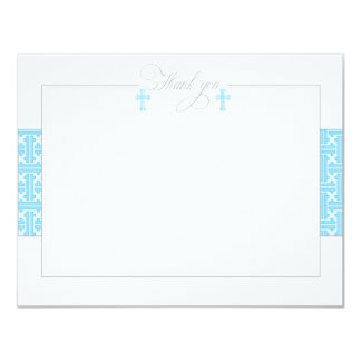Twin Blue Baptismal Flat Thank You Note 11 Cm X 14 Cm Invitation Card