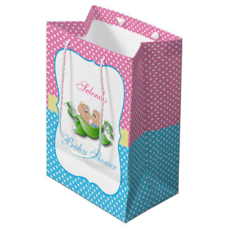 Twin Boy and Girl Baby Shower Medium Gift Bag