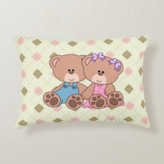 Twin Boy and Girl Bear Decorative Cushion