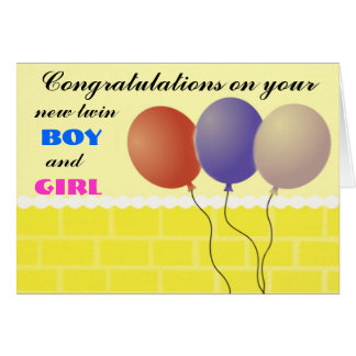 Twin boy and girl Card