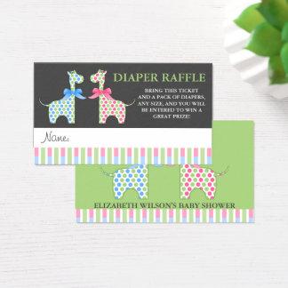 Twin Boy and Girl Giraffe Diaper Raffle Tickets