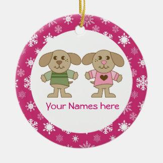 Twin Boy and Girl Pink Christmas Keepsake Gift Ceramic Ornament