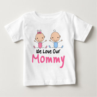 Twin Boy and Girl Stick Figure Babies Baby T-Shirt