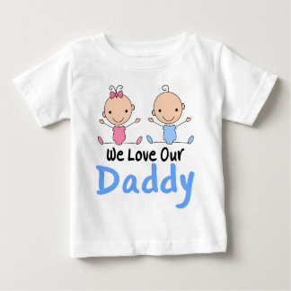 Twin Boy and Girl Stick Figure Babies Baby T-Shirt