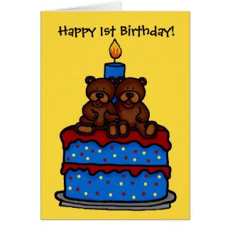 twin boy bears on cake 1st birthday greeting card