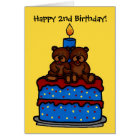 twin boy bears on cake birthday 2 card