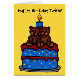 twin boy bears on cake birthday greeting card