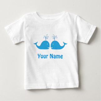 Twin Boy Blue Whale Cute Baby T-Shirt
