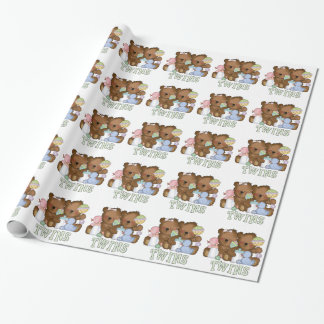 Twin boy,girl baby bears wrapping paper