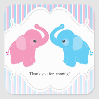 Twin Boy & Girl Elephant Baby Shower Favor Sticker